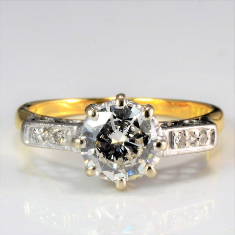 Vintage Eight Prong Diamond with Accents Engagement Ring | 0.88 ctw, SZ 6.5 |