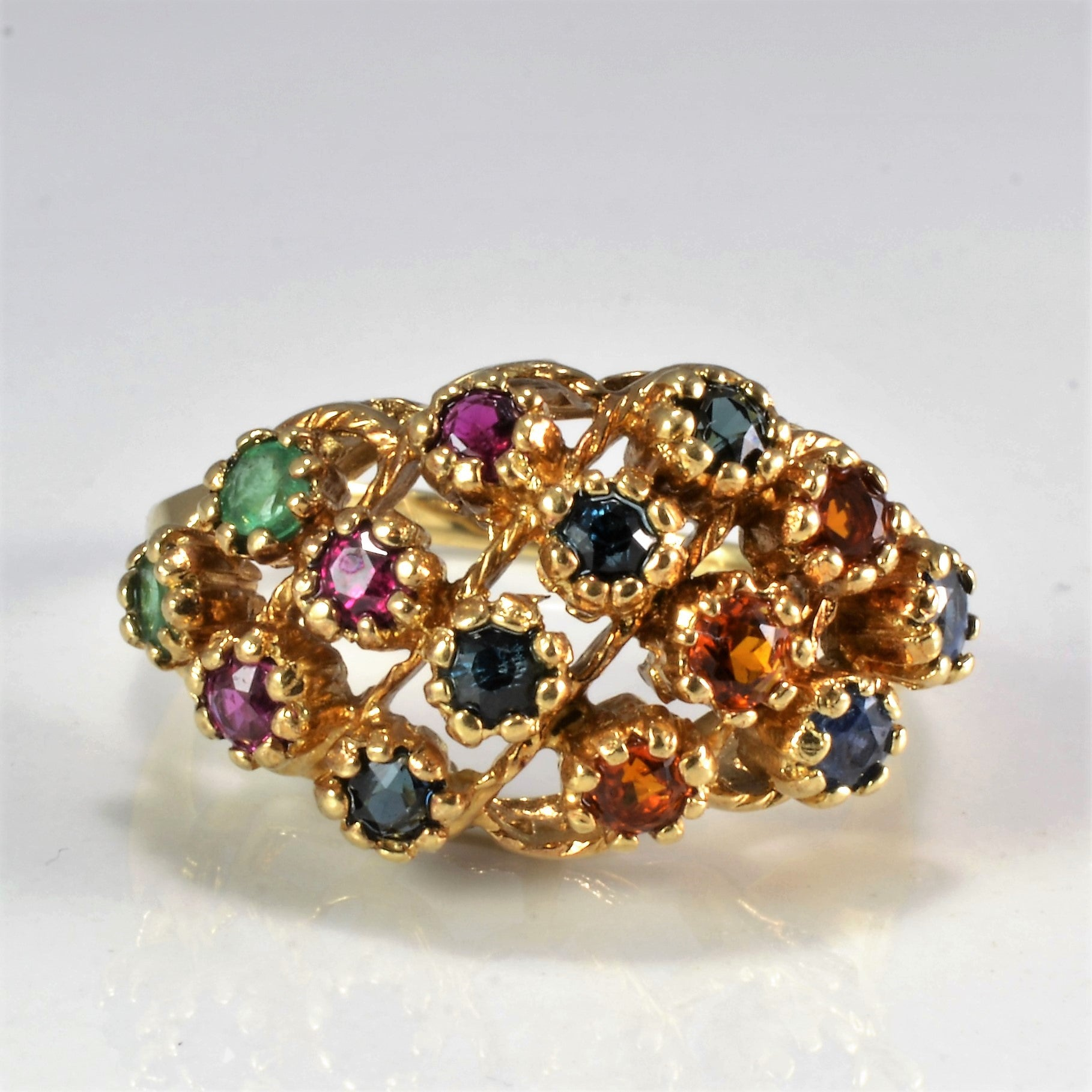 Textured Multi Gemstone Ladies Ring | SZ 7.5 |