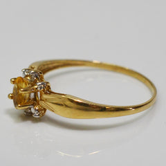 Oval Cut Citrine & Diamond Ring | 0.01 ctw, SZ 7.75 |