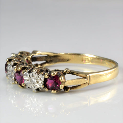 Victorian Era Ruby 7 Diamond Vintage Ring | 0.03 ctw, SZ 5.5 |