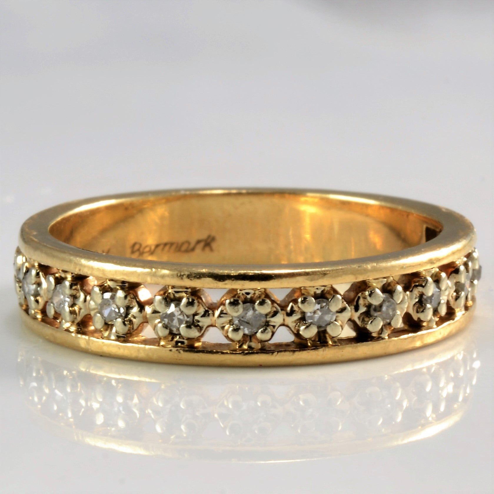 Pave Set Diamond Semi Eternity Wedding Band | 0.12 ctw, SZ 5.75 |