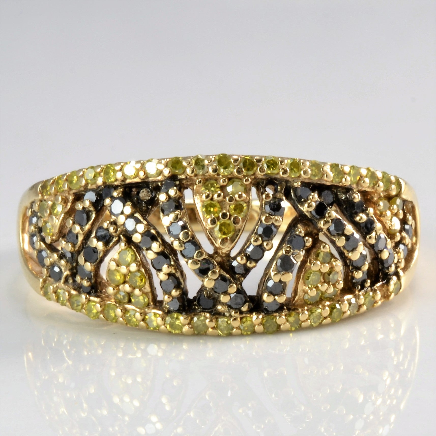 Yellow & Black Diamond Cluster Ring | 0.55 ctw, SZ 7.25 |