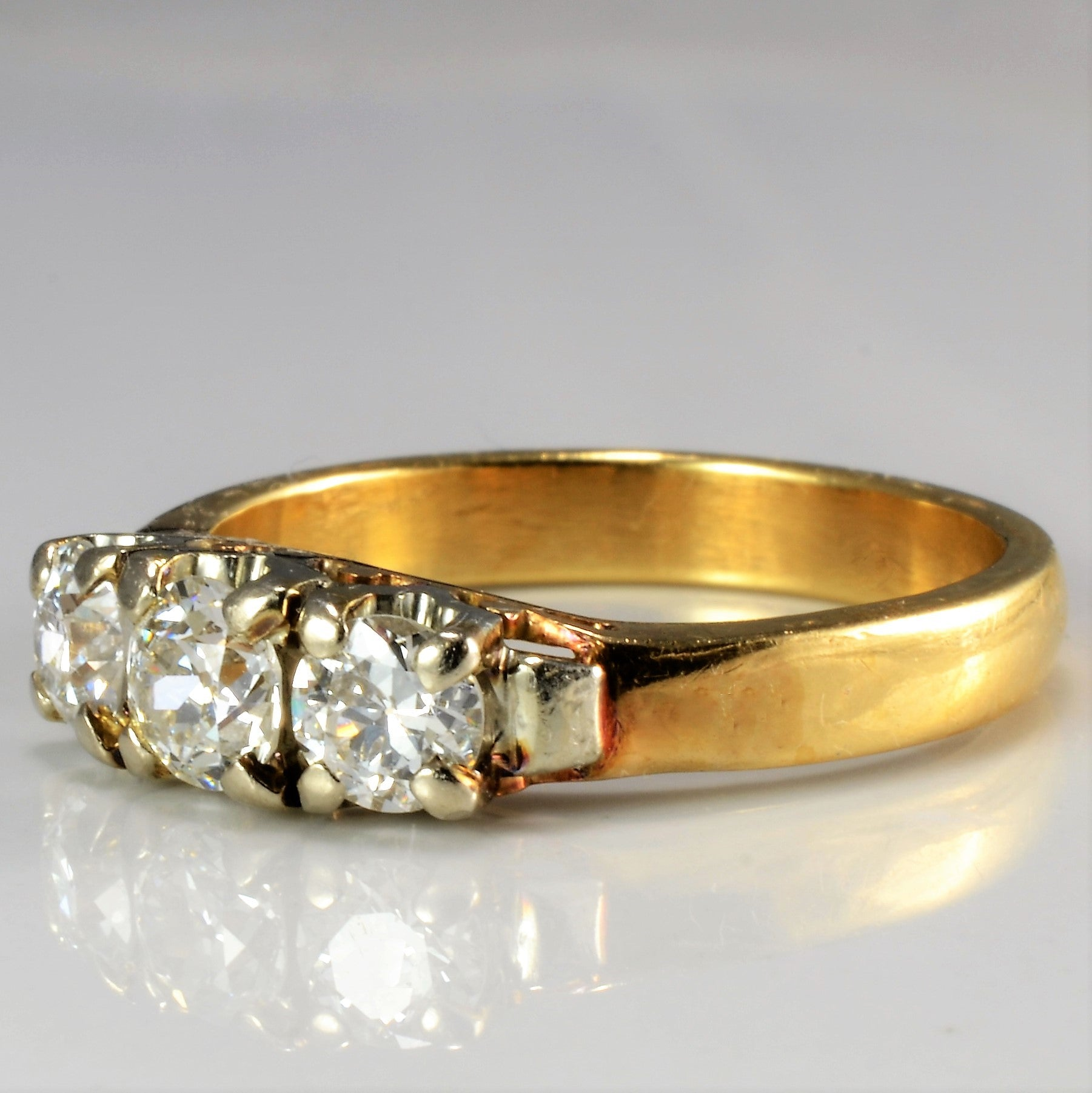 Old European Three Stone Diamond Ring | 1.00 ctw, SZ 8 |