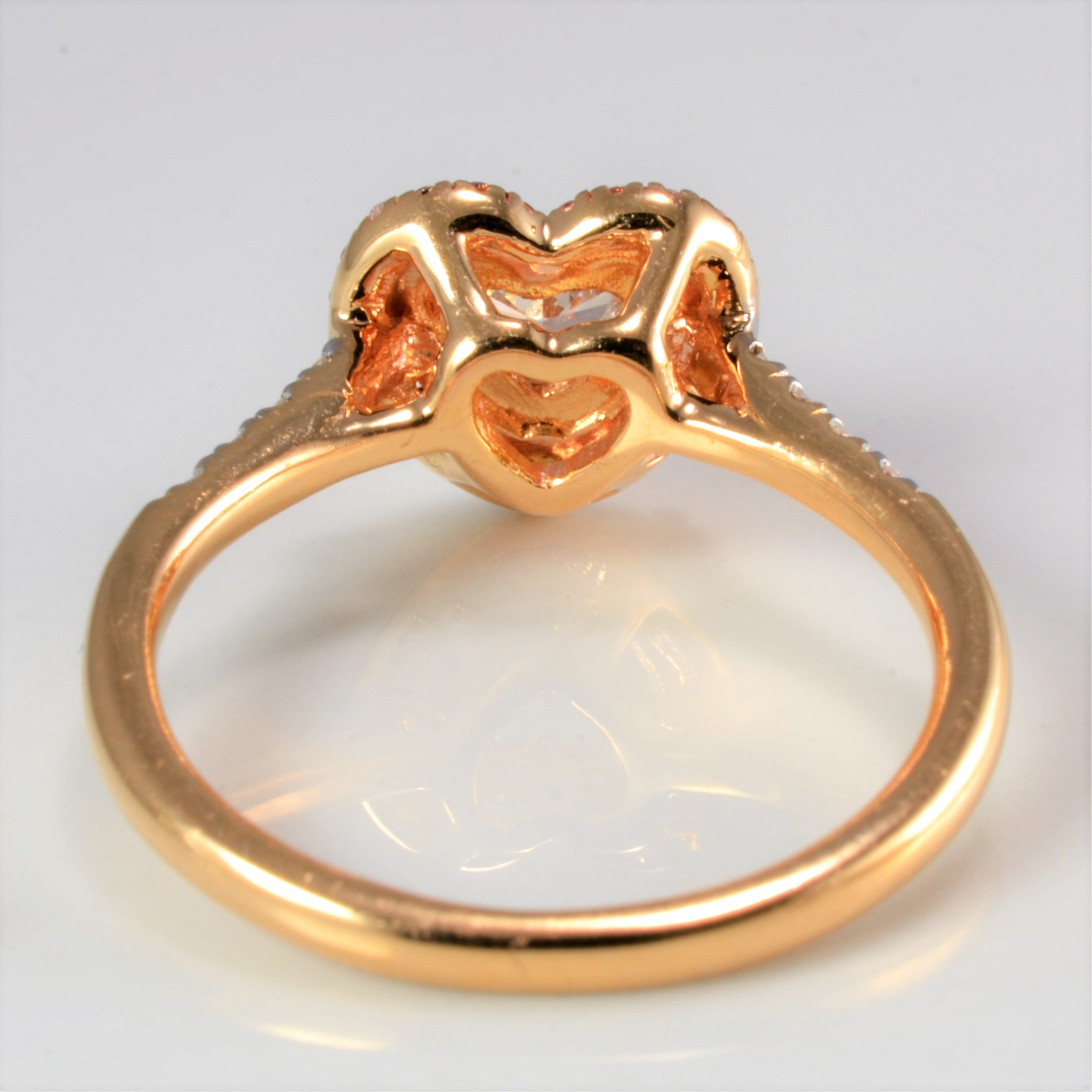 Diamond Halo Heart Design Engagement Ring | 0.50 ctw, SZ 6.5 |