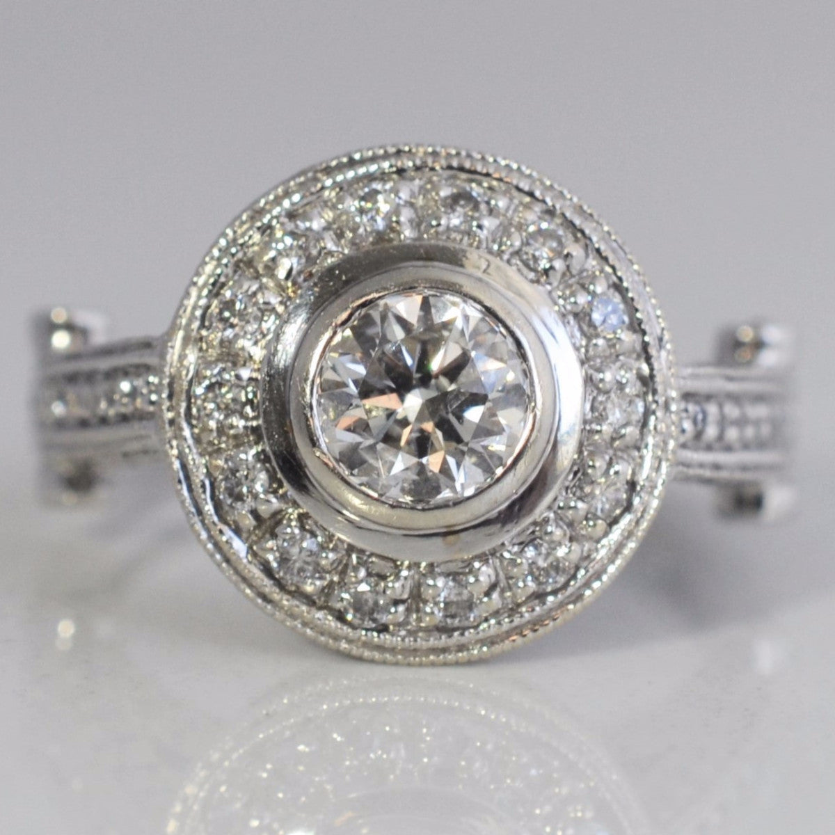 Bezel Set Milgrain Detailed Engagement Ring | 1.10 ctw, SZ 6.25 |