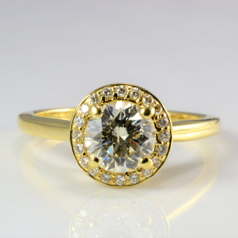 Halo Diamond Engagement Ring | 1.11 ctw, SZ 7.25 |