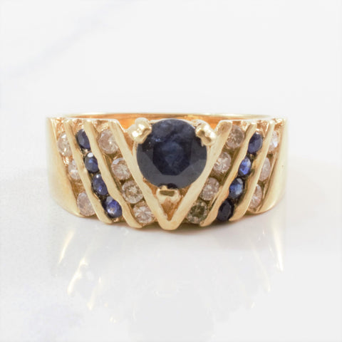 Channel Set Diamond & Sapphire Ring | 0.28ctw, 0.94ctw | SZ 5.25 |