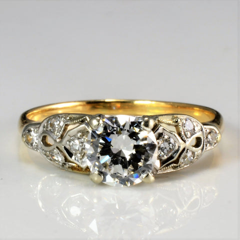 Milgrain Detailed Art Deco Diamond Engagement Ring | 0.82 ctw, SZ 6.5 |