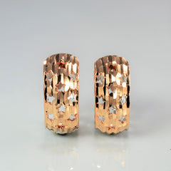 Two Tone Gold Textured Huggie Earrings