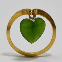 Gold Ring With Hanging Jade Heart | SZ 5.75 |