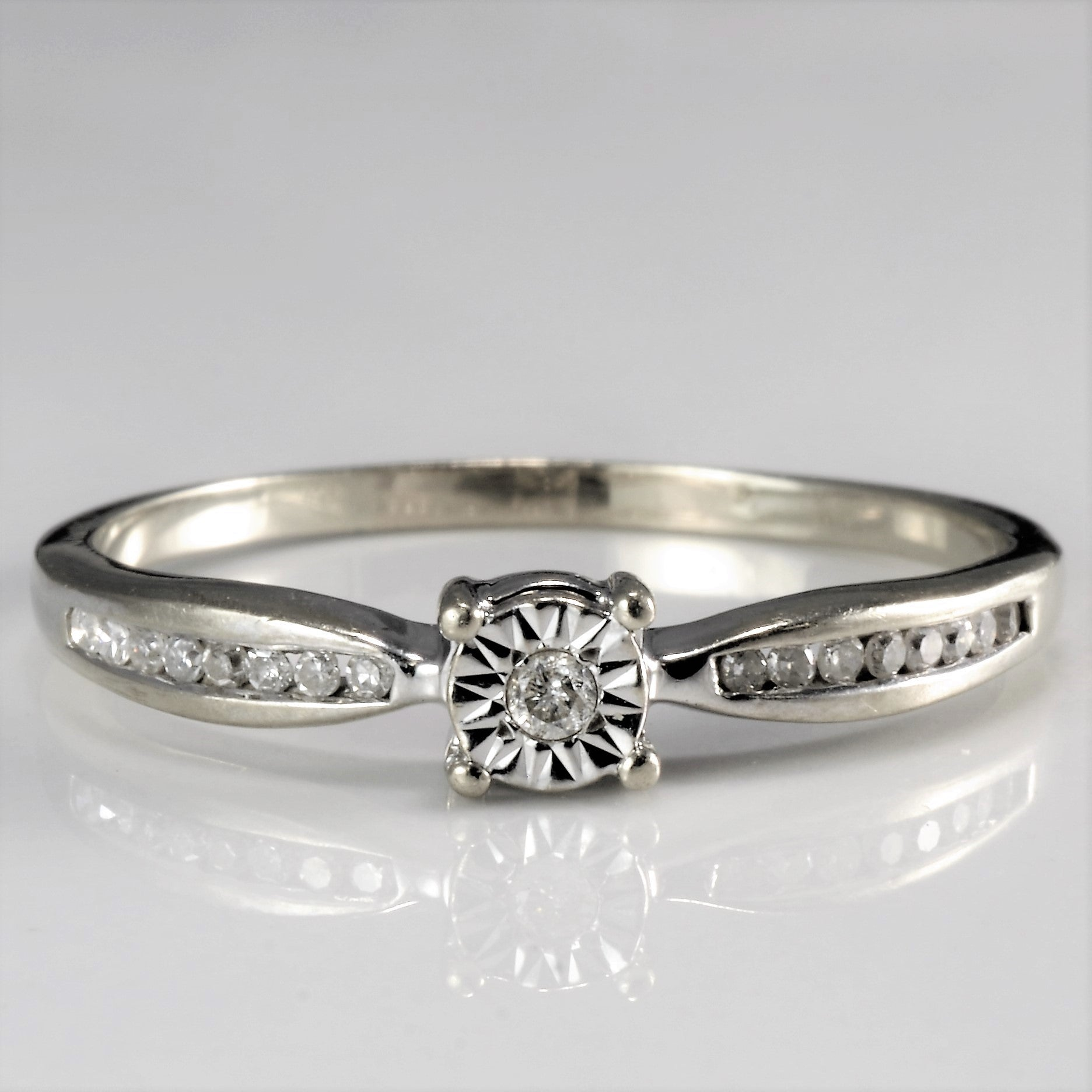 Channel Set Diamond Promise Ring | 0.10 ctw, SZ 10 |