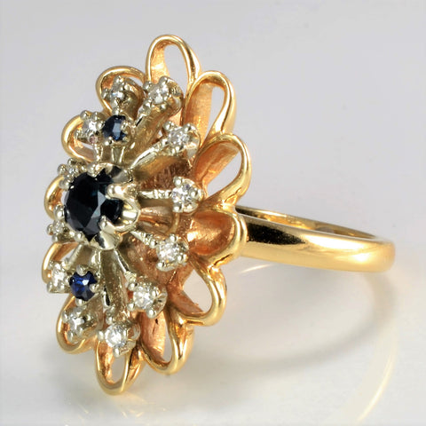 Floral Inspired Sapphire & Diamond Ring | 0.12 ctw, SZ 6.5 |