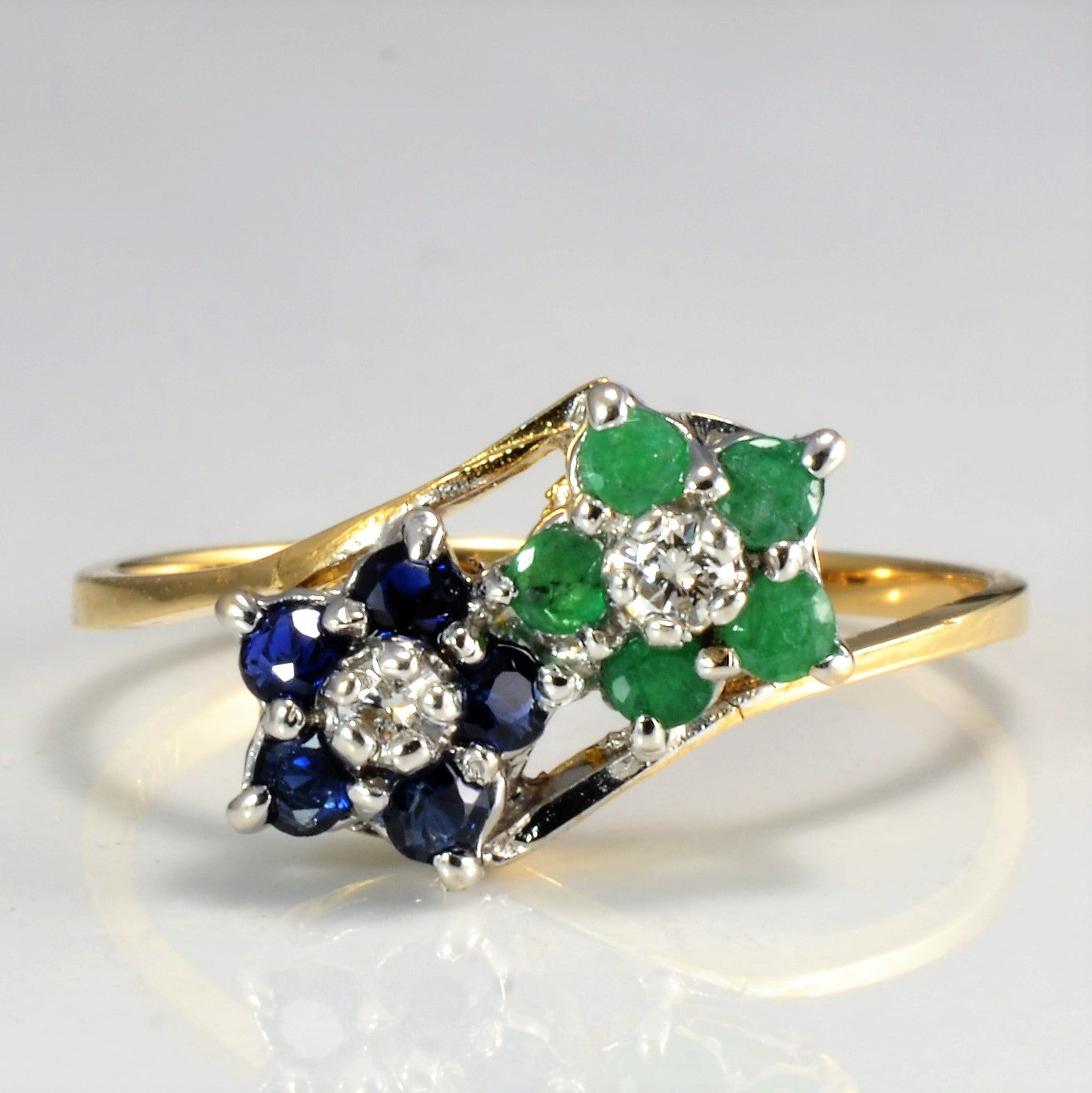 Flower Design Diamond & Multi Gem Cluster Ring | 0.07 ctw, SZ 8 |