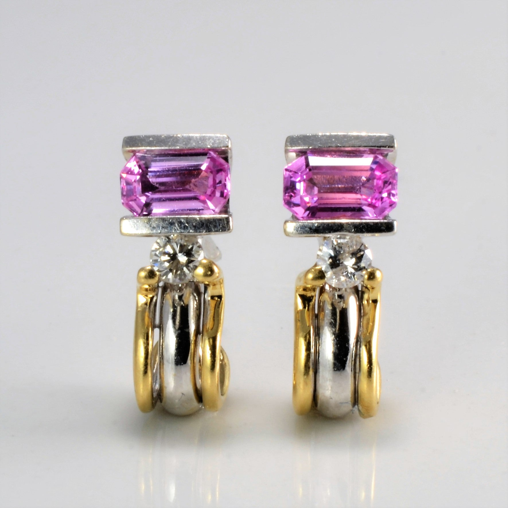 Pink Sapphire & Diamond Earrings | 0.10 ctw |