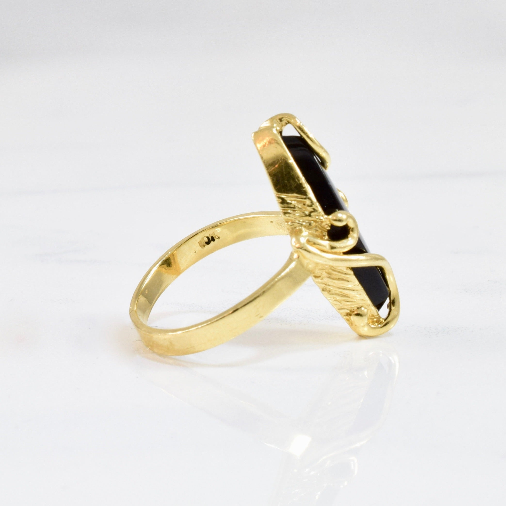 Gold Wrapped Marquise Onyx Ring | SZ 6.5 |