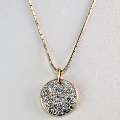 Two Tone Cluster Diamond Pendant Necklace | 0.56 ctw, 16''|
