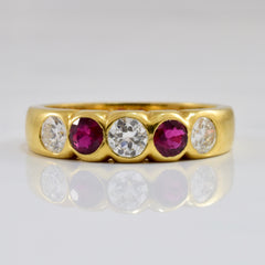 Bezel Set Ruby and Diamond Ring | 0.48 ctw SZ 6.25 |