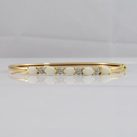 Opal and Diamond Bangle | 0.01 ctw SZ 8"