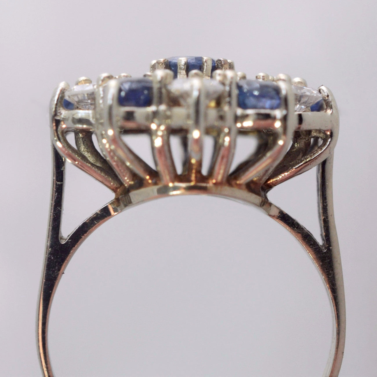 ring gold cocktail diamond certified solid sapphire rings p vintage blue natural