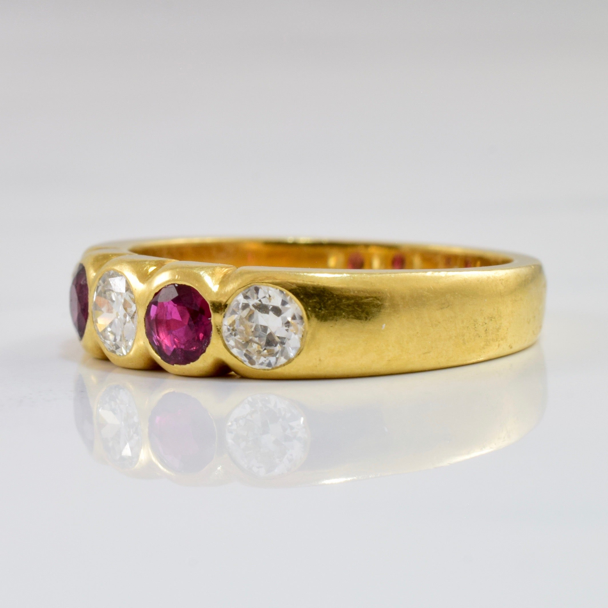 Early 1900s Ruby & Diamond Band | 0.48 ctw SZ 6.25 |