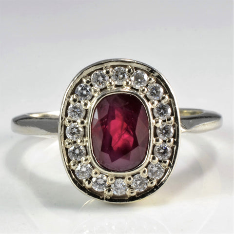 Custom Made Ruby & Diamond Cocktail Ring | 0.25 ctw, SZ 6 |