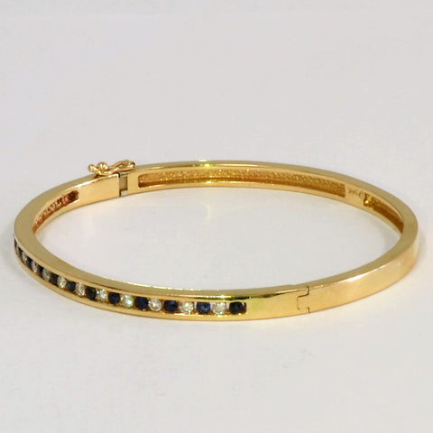 Channel Set Diamond & Sapphire Bangle Bracelet | 0.48 ctw, 7''|