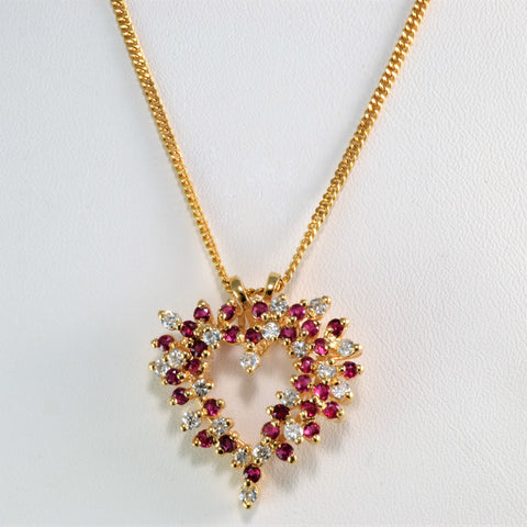 Cluster Diamond & Ruby Heart Pendant Necklace | 0.50 ctw, 24''|