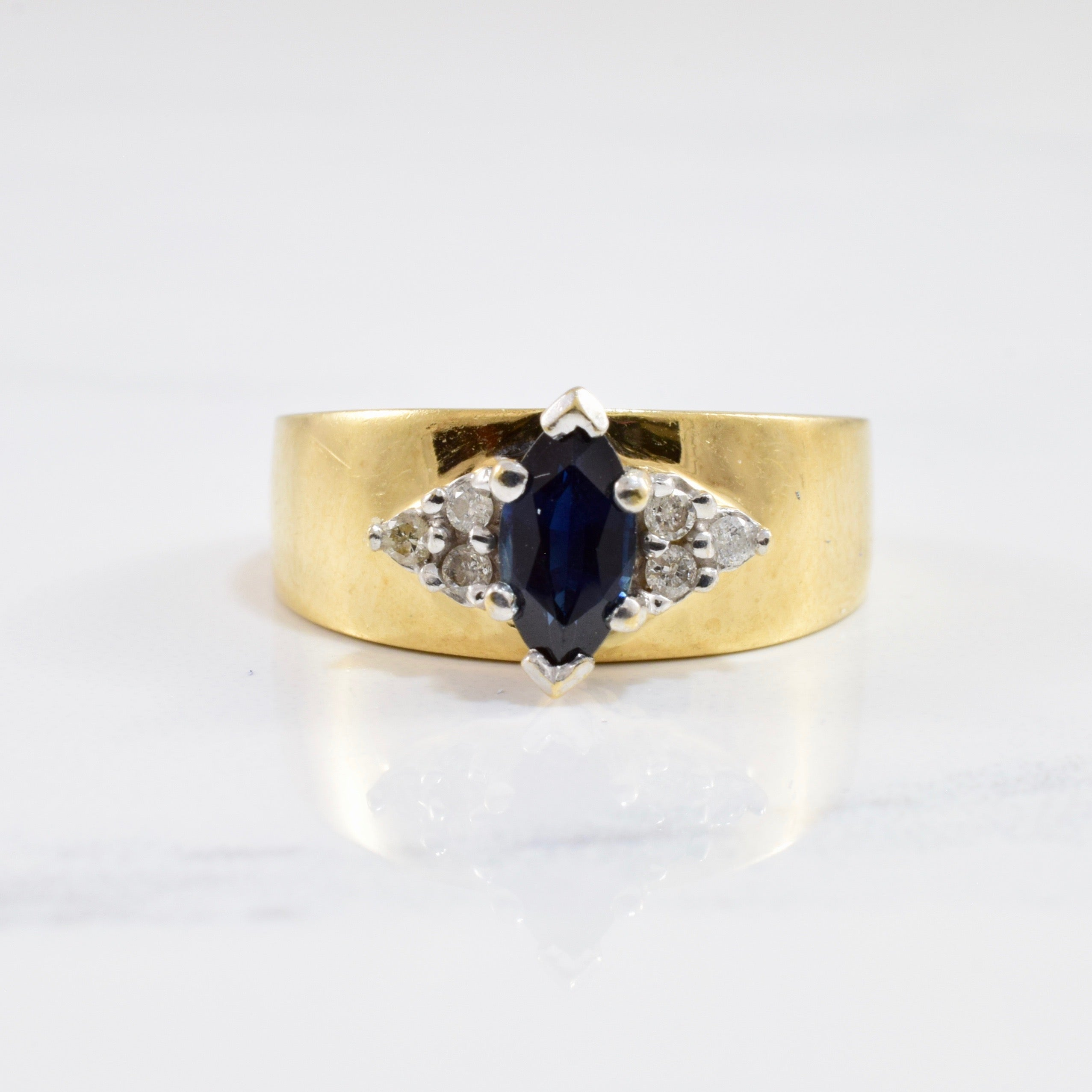 Sapphire and Diamond Side Cluster Ring | 0.07 ctw SZ 6.5 |