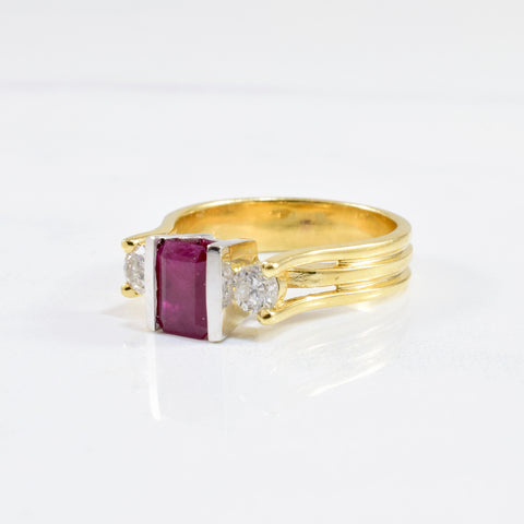 Tension Set Ruby & Diamond Ring | 0.38 ctw SZ 7.25 |