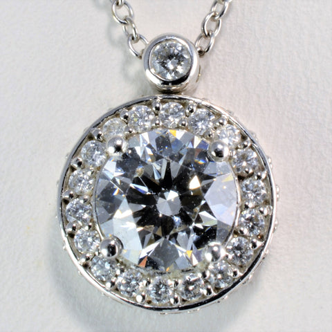 'Birks' Diamond Halo Necklace | 1.42 ctw | 18"