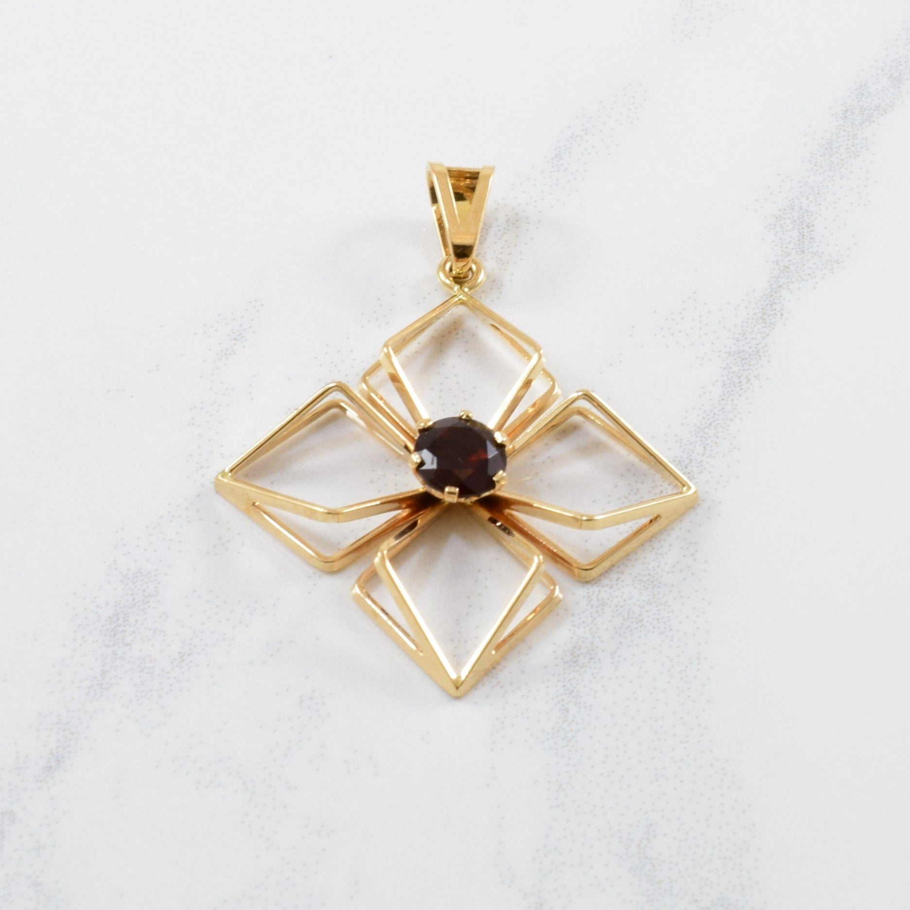 Garnet Wire Frame Four Point Pendant | 0.54ct |