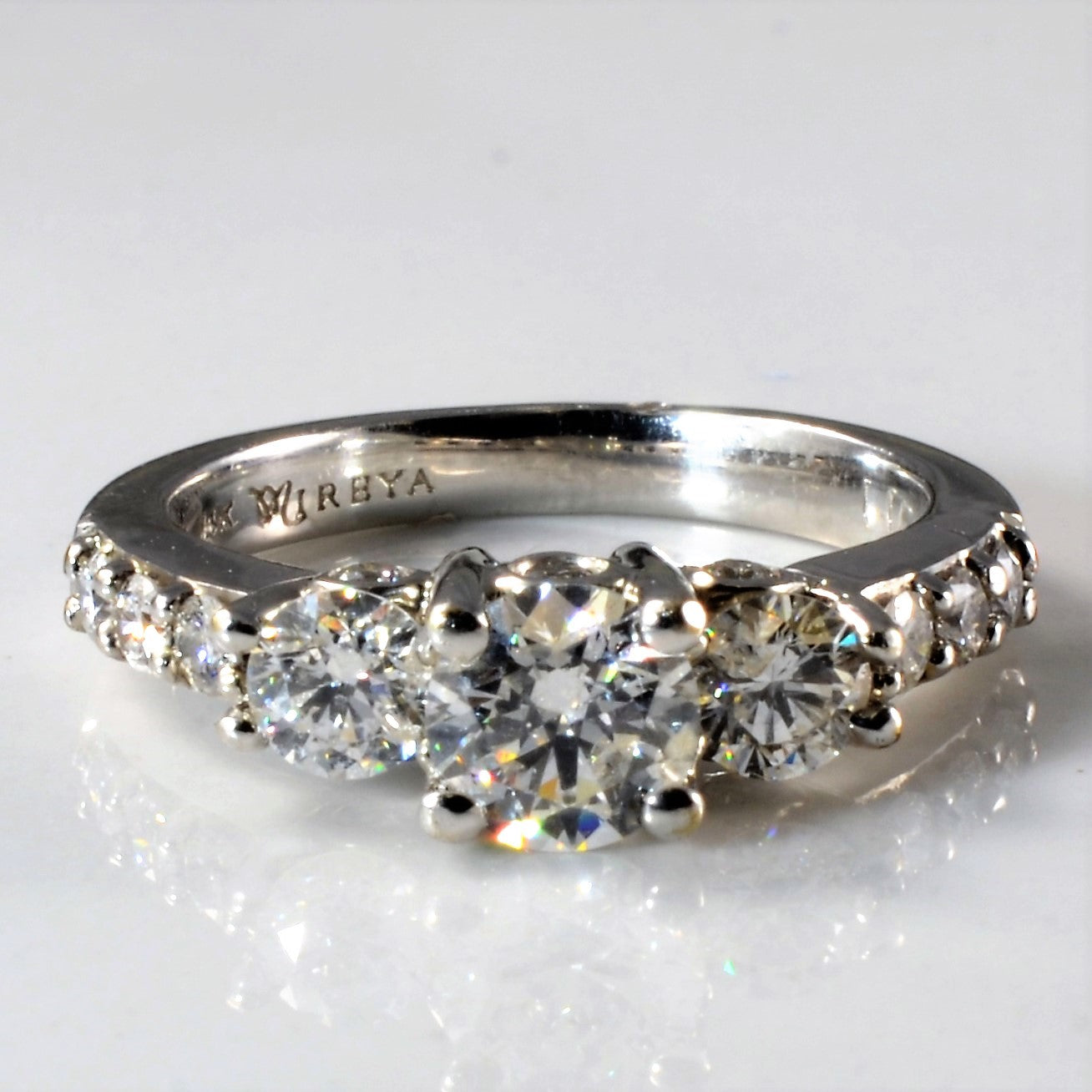 Diamond Detailed Three Stone Engagement Ring | 1.21ctw | SZ 4.5 |
