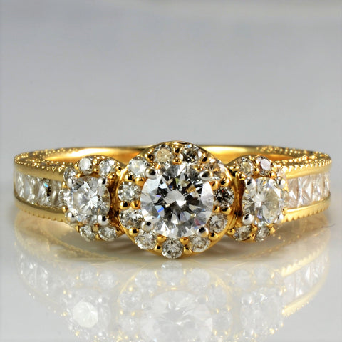 Beautiful Milgrain Designer Diamond Engagement Ring | 1.24 ctw, SZ 6.5 |