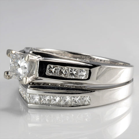 Cathedral Set Princess Diamond Wedding Ring Set | 1.31 ctw, SZ 7.5 |