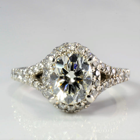 Cathedral Set Halo Diamond Engagement Ring | 1.83 ctw, SZ 4.5 |