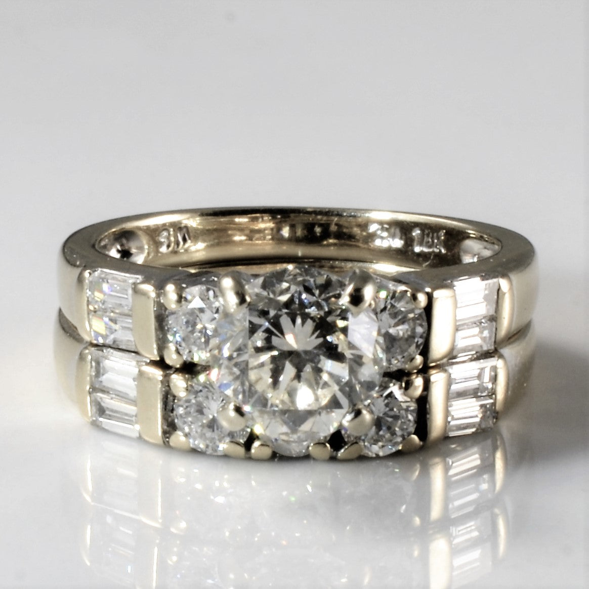 Baguette Detailed Diamond Wedding Set | 1.76ctw | SZ 4 |