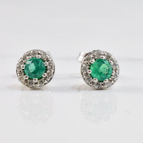 Emerald and Diamond Stud Earrings | 0.10 ctw |