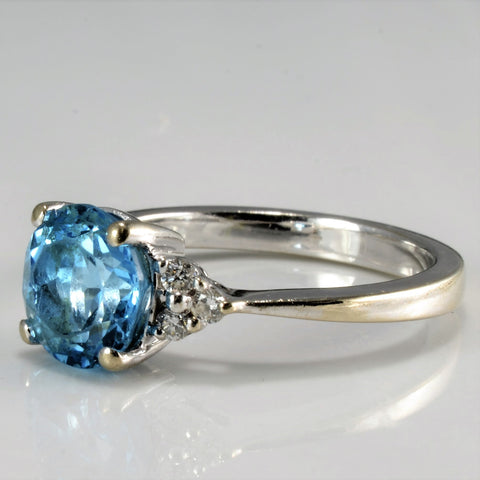 Solitaire Topaz & Accent Diamond Ladies Ring | 0.12 ctw, SZ 7 |