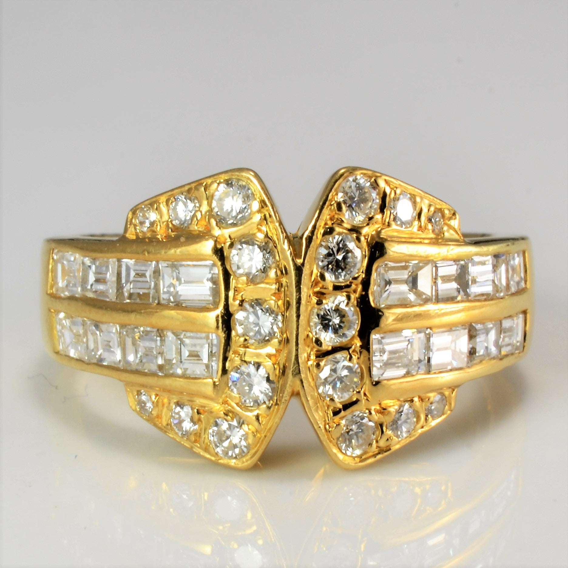 Diamond Belt Buckle Design Ladies Ring | 0.66 ctw, SZ 5.5 |