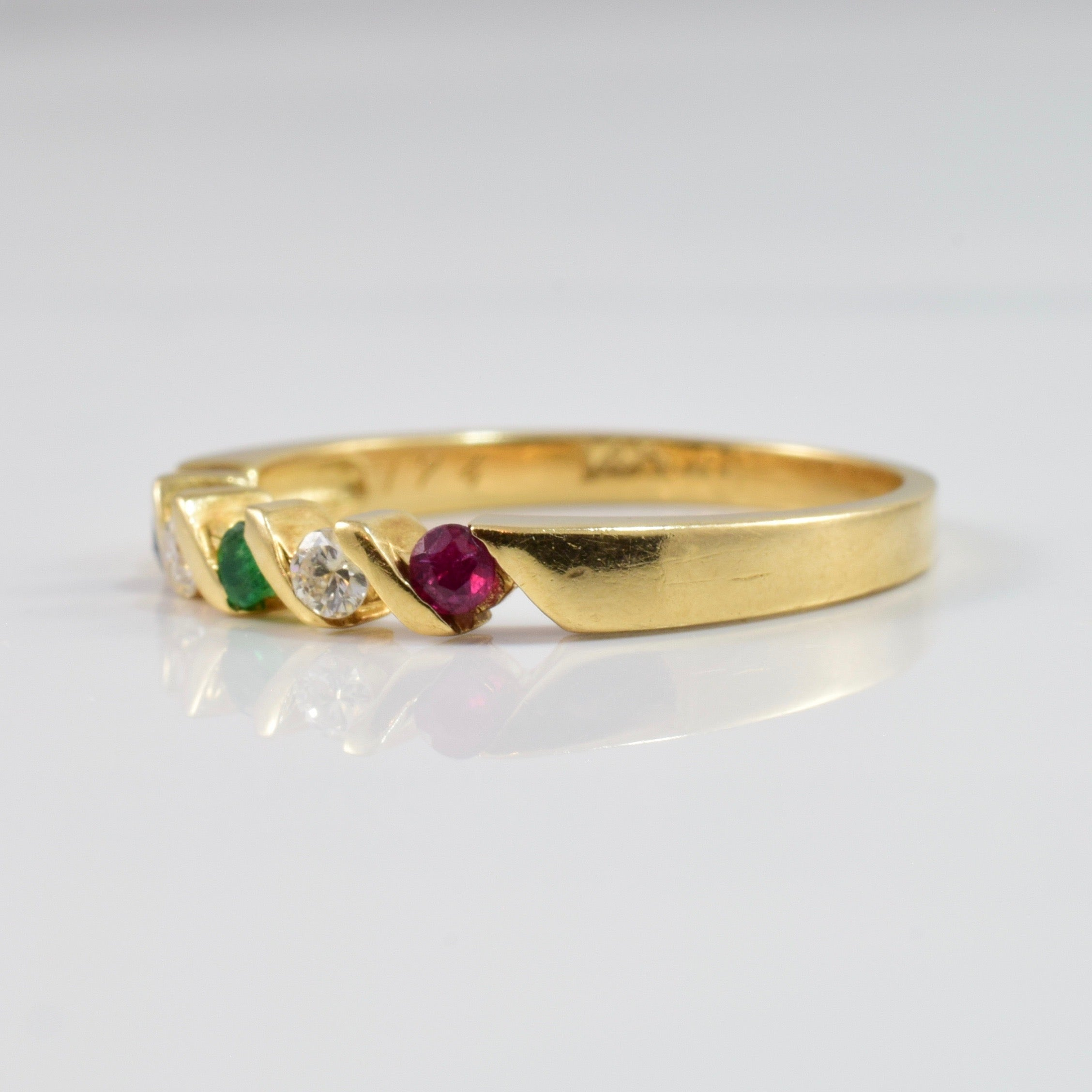 Bar Set Diamond and Coloured Stone Ring | 0.08 ctw SZ 6.5 |