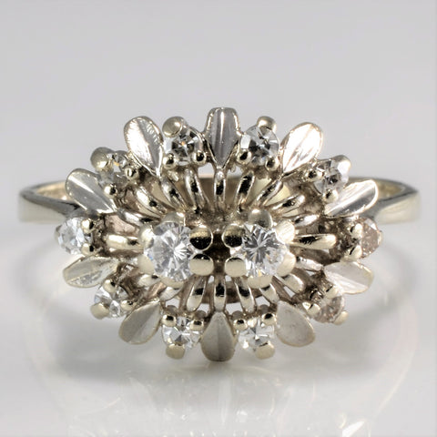 Art Deco Floral Diamond Vintage Engagement Ring | 0.25 ctw, SZ 8 |