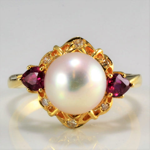Tapered Filigree Design Multi Gem Vintage Ring | 0.12 ctw, SZ 6.75 |