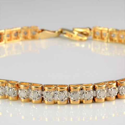 10k Gold Diamond Chain Bracelet | 0.80 ctw, 7''|