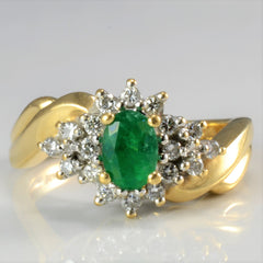 Bypass Emerald & Diamond Cocktail Ring | 0.25 ctw, SZ 6.25 |