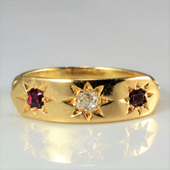 Custom made Gypsy Set Diamond & Ruby Ring | 0.10 ct, SZ 6 |