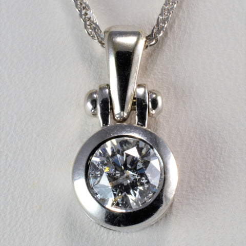 Bezel Set Solitaire Diamond Pendant Necklace | 0.56 ct, 20'' |