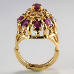 High Set Vintage Ruby & Diamond Hinged Ring | 0.08 ctw, SZ 6-8.5 |
