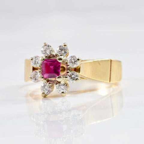 Square Ruby & Diamond Halo Ring | 0.22ctw | SZ 6 |