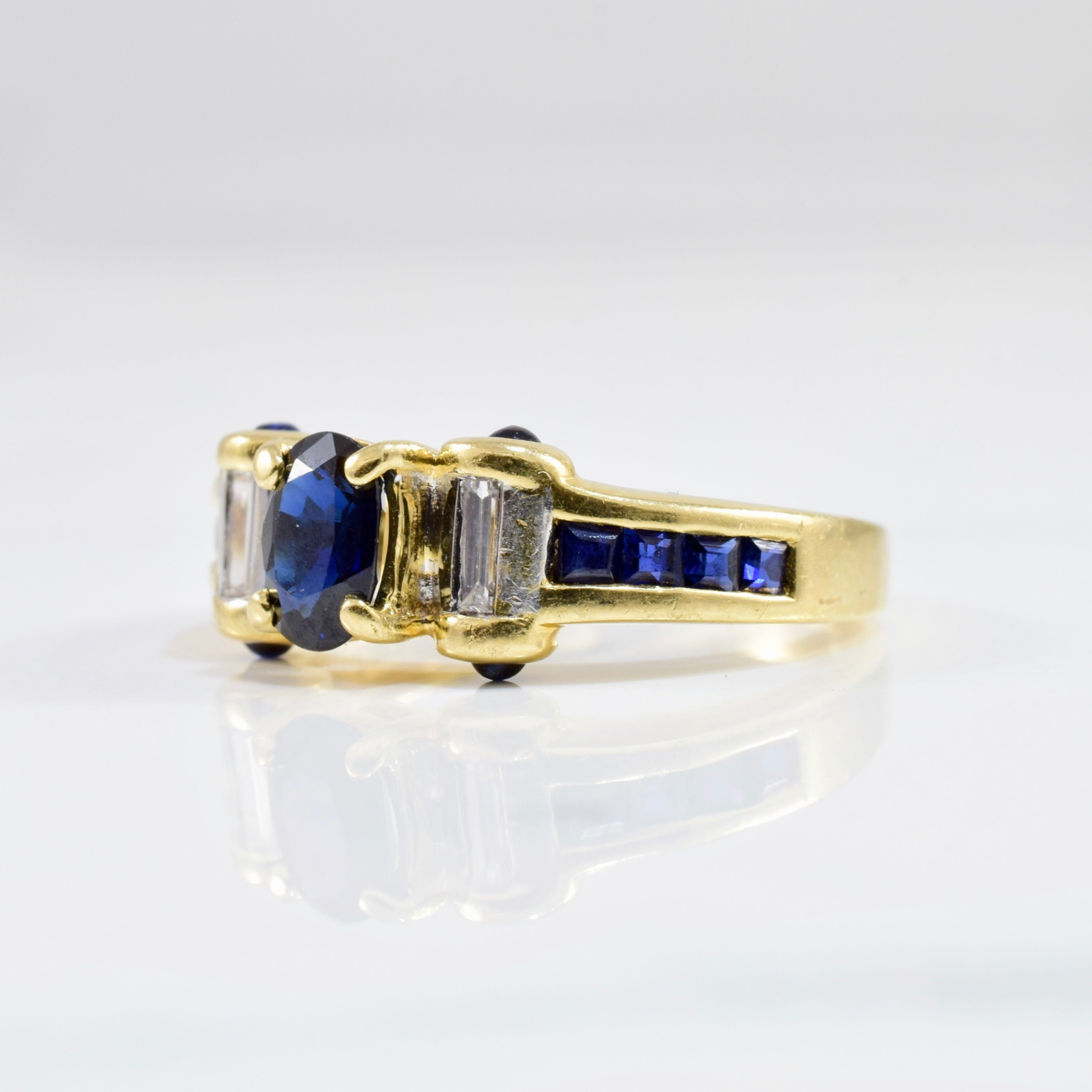 Cabochon Detailed Sapphire Ring | 0.06 ctw SZ 5 |