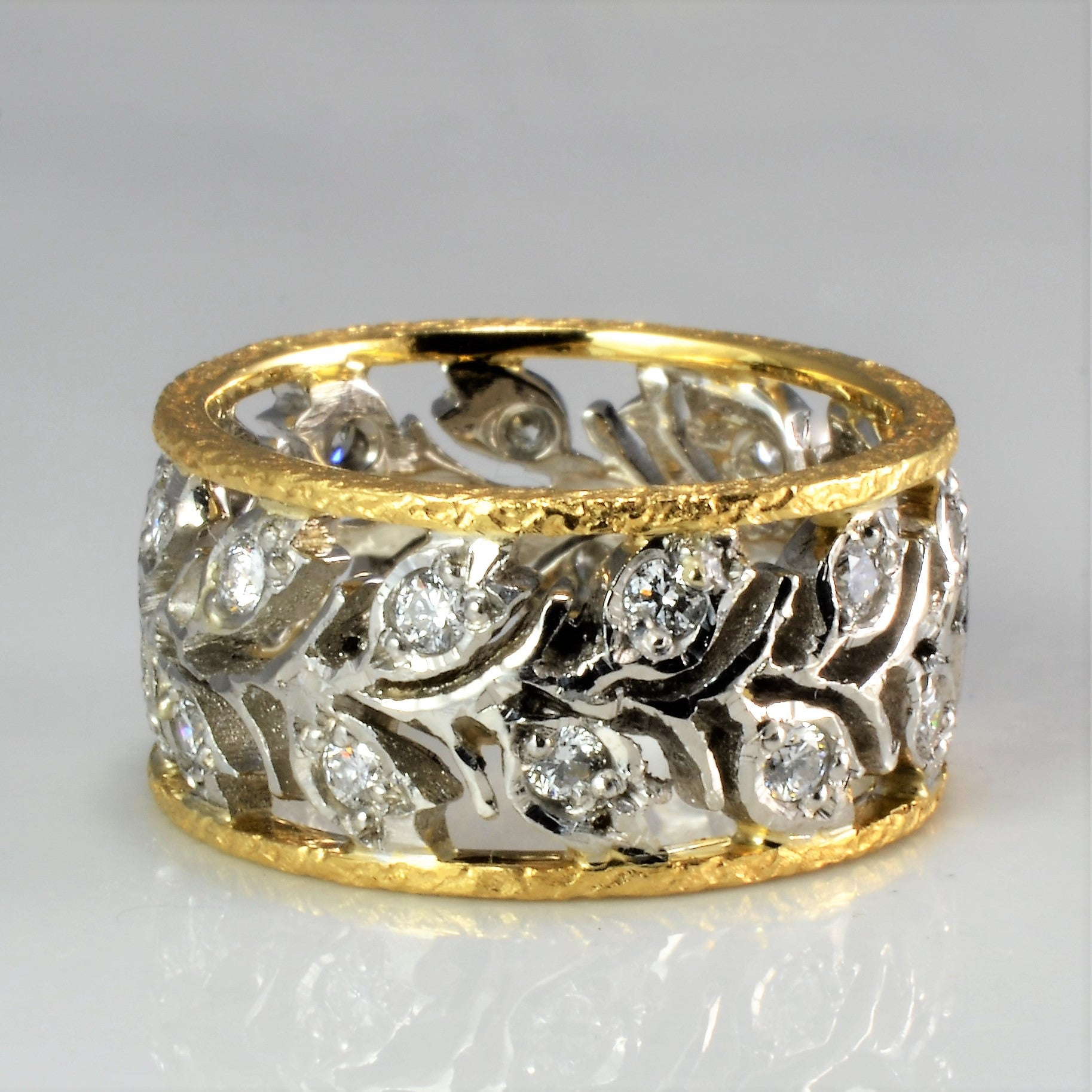 Platinum & Gold Floral Inspired Diamond Band | 0.66 ctw, SZ 4.5 |